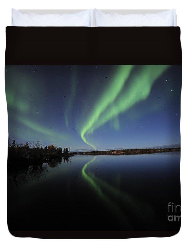 Yellowknife Duvet Cover featuring the photograph Aurora Borealis Over Long Lake by Jiri Hermann