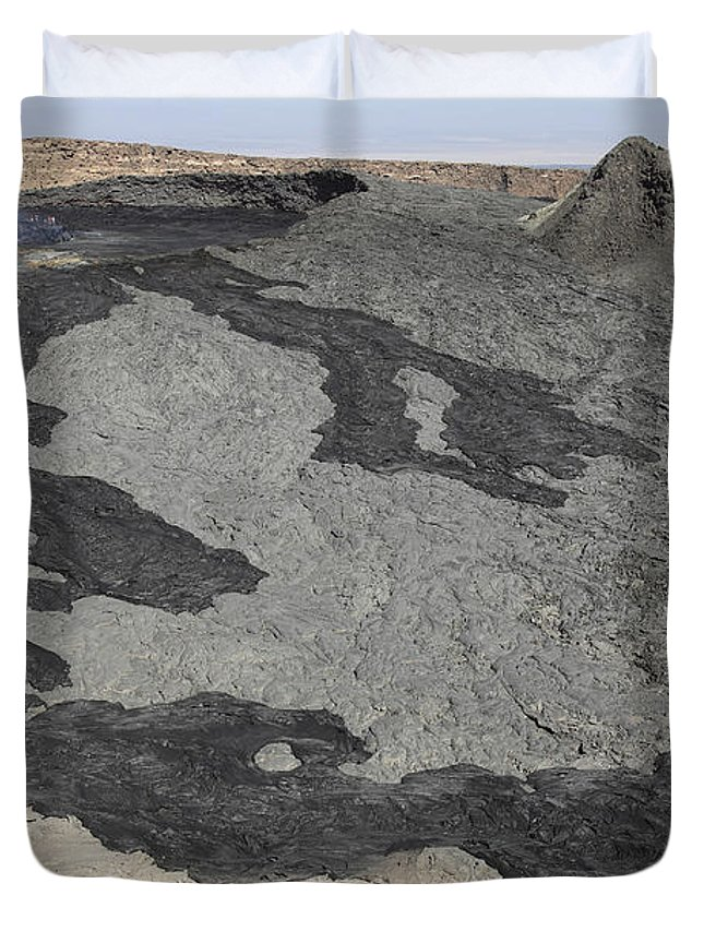 Hornito Duvet Cover featuring the photograph Basaltic Lava Flow From Pit Crater by Richard Roscoe