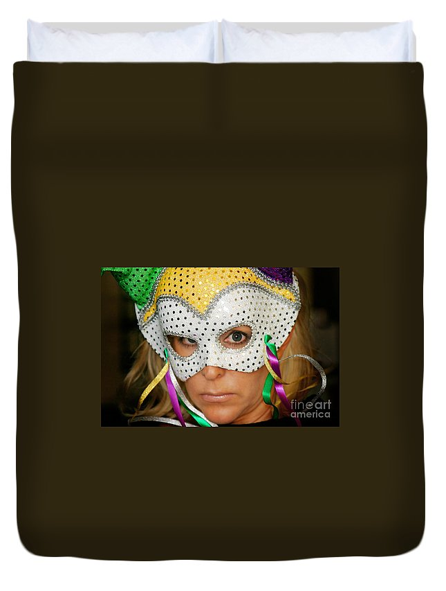 Young Duvet Cover featuring the photograph Blond Woman With Mask by Henrik Lehnerer