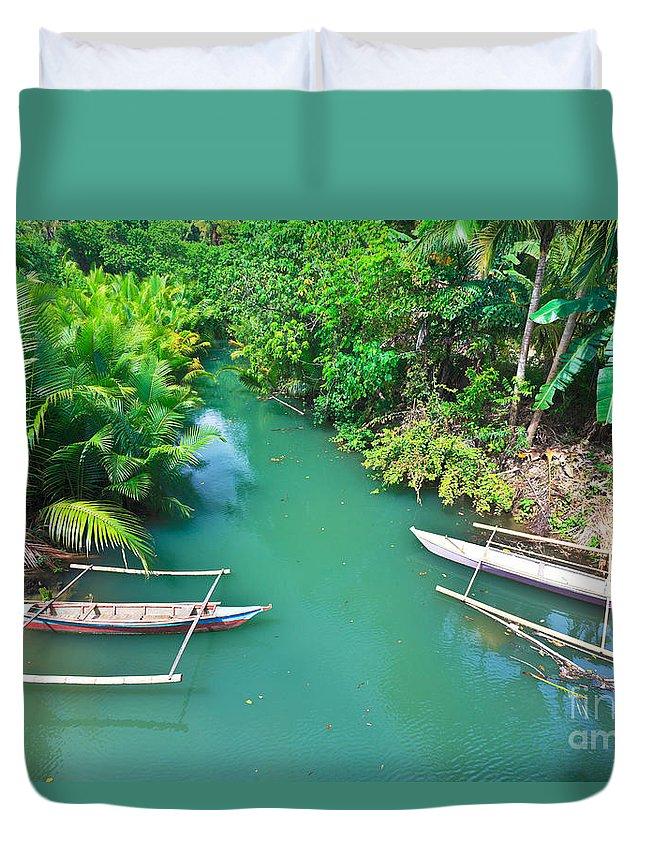 Landscape Duvet Cover featuring the photograph Boats by MotHaiBaPhoto Prints