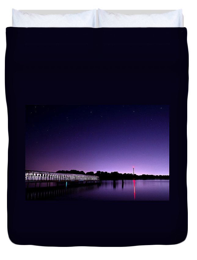 Night Duvet Cover featuring the photograph Boblo Dock by Cale Best
