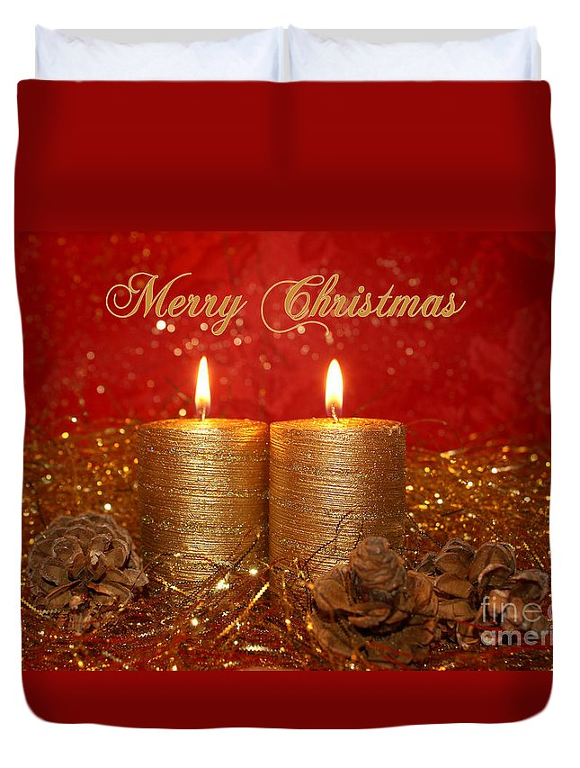 Christmas Cards Duvet Cover featuring the photograph 2 Candles Christmas Card by Aimelle