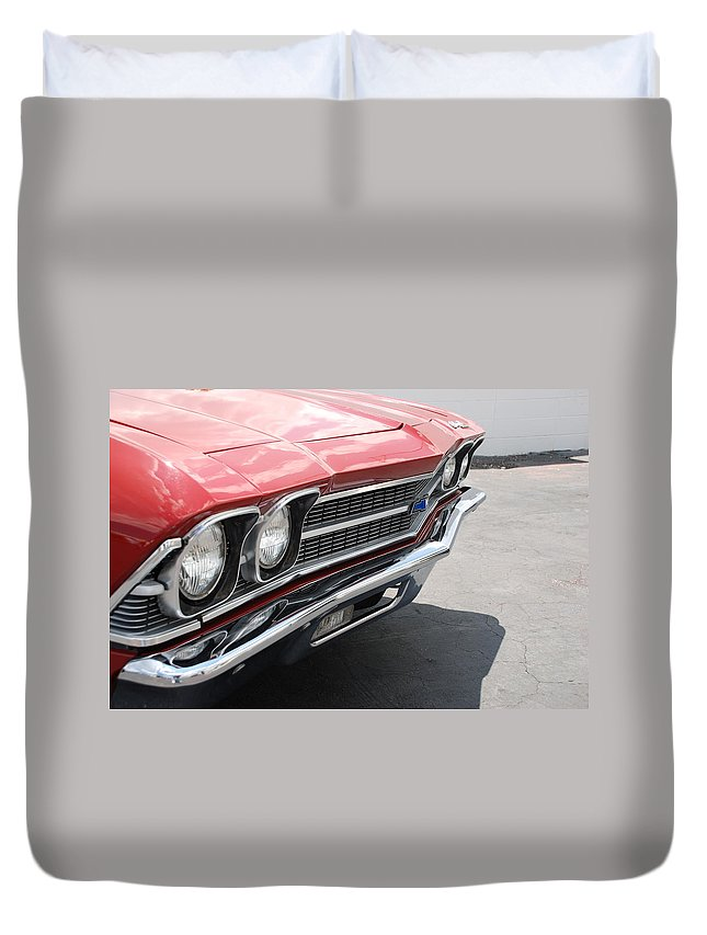 Chevy Duvet Cover featuring the photograph Cherry Chevelle by Rob Hans