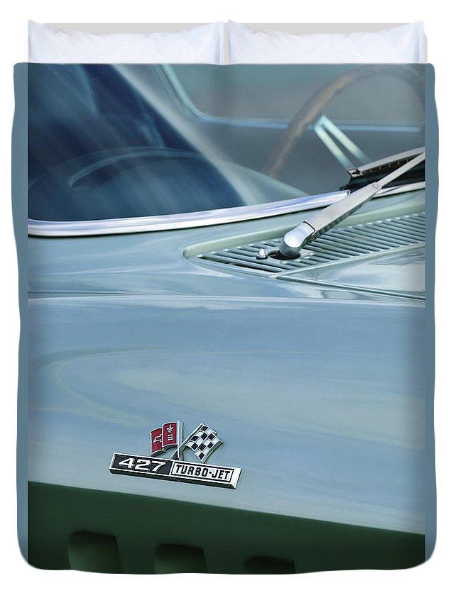 Chevrolet Corvette Duvet Cover featuring the photograph Chevrolet Corvette Emblem by Jill Reger