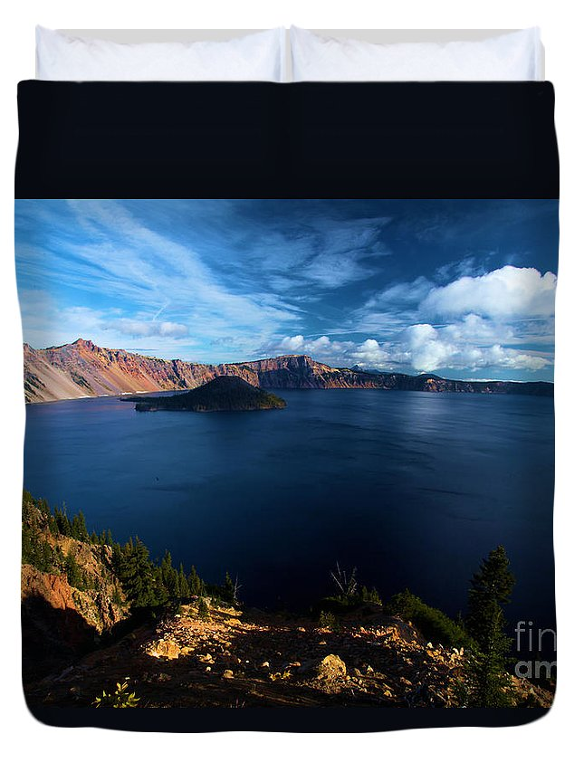 Crater Lake National Park Duvet Cover featuring the photograph Crater Lake Blues by Adam Jewell
