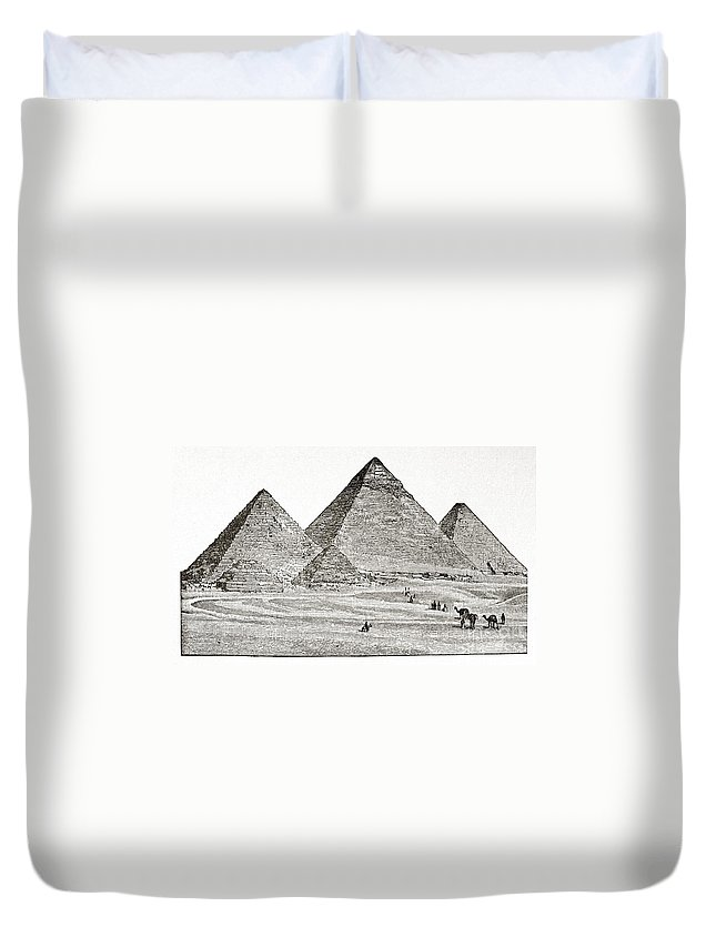 19th Century Duvet Cover featuring the photograph Egypt: Pyramids At Giza by Granger