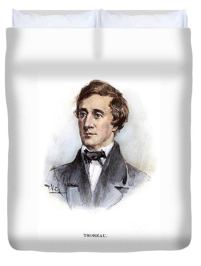 19th Century Duvet Cover featuring the photograph Henry David Thoreau by Granger