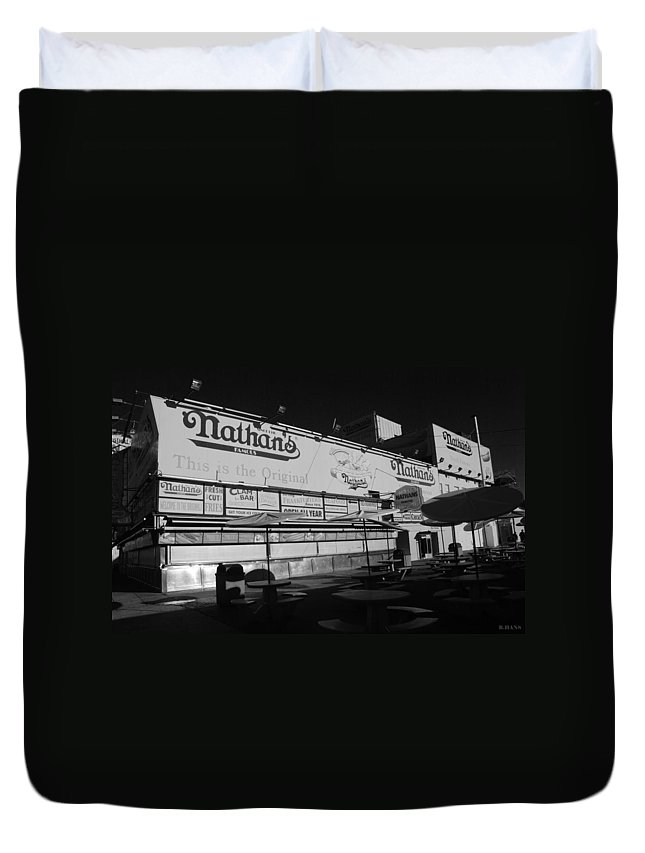 Brooklyn Duvet Cover featuring the photograph Nathan's Famous In Black And White by Rob Hans