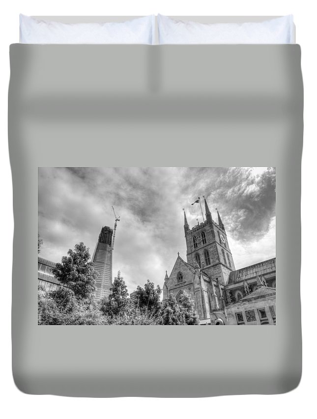 Shard Duvet Cover featuring the photograph New and Old by Chris Day