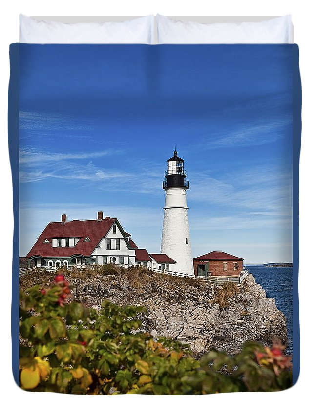 Maine Duvet Cover featuring the photograph Portland Head Lighthouse by John Greim