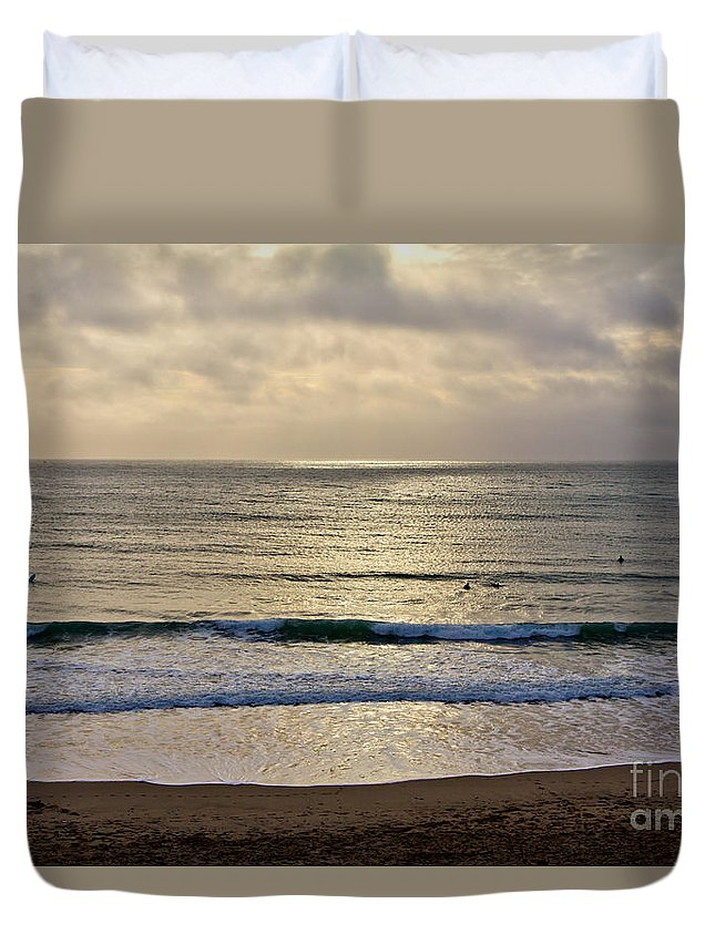 Praa Sands Cornwall Duvet Cover featuring the photograph Praa Sands by Brian Roscorla