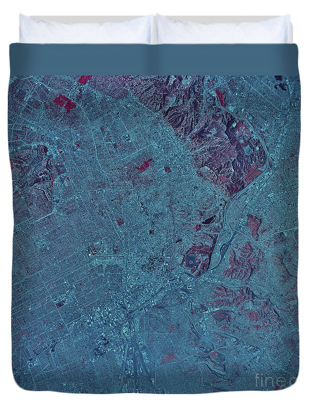 Color Image Duvet Cover featuring the photograph Satellite View Of Los Angeles by Stocktrek Images