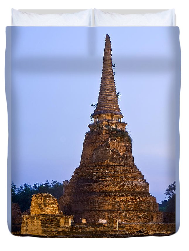 Architecture Duvet Cover featuring the photograph Stupa Chedi Of A Wat In Ayutthaya Thailand by U Schade