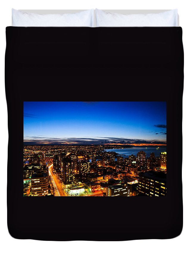Architecture Duvet Cover featuring the photograph Sunset Over A City Nice Illuminated by U Schade