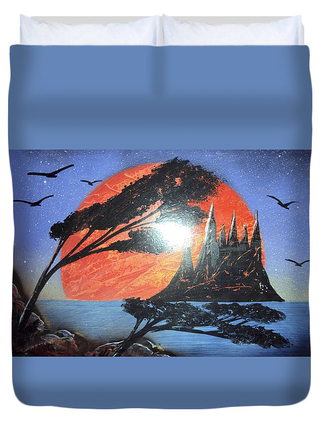 Palms Duvet Cover featuring the mixed media Untitled by Artista Elisabet