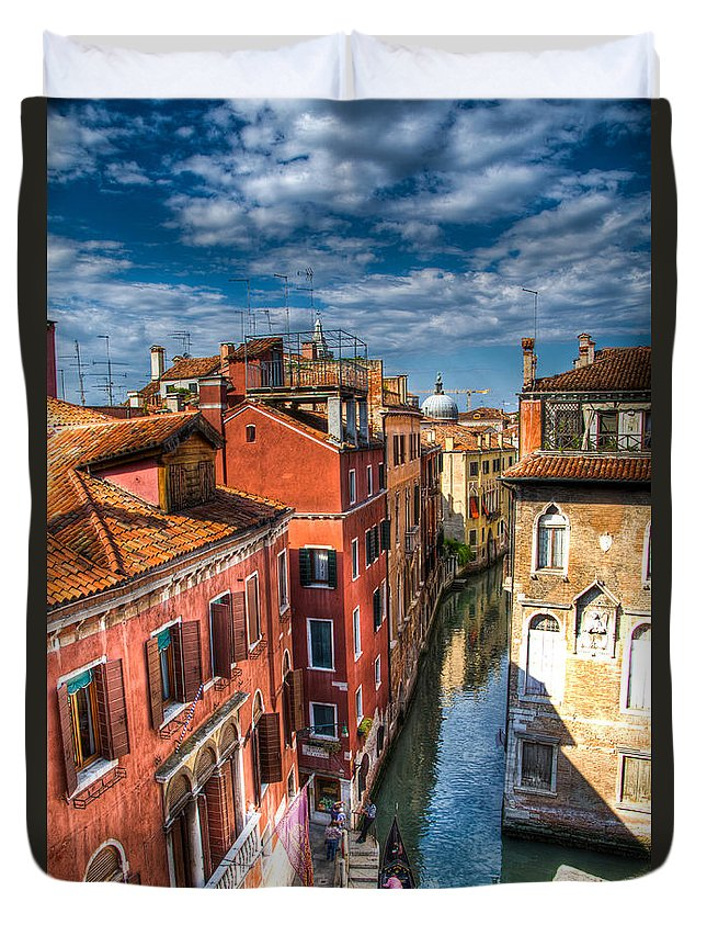 Venice Duvet Cover featuring the photograph Venice Canal by Jon Berghoff