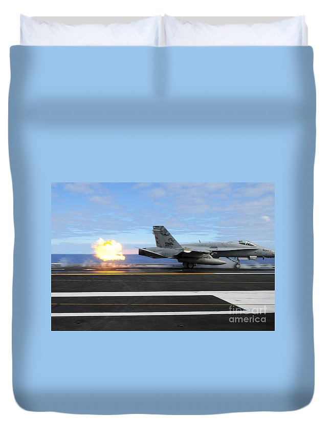 Flight Operations Duvet Cover featuring the photograph An Fa-18c Hornet Launches by Stocktrek Images