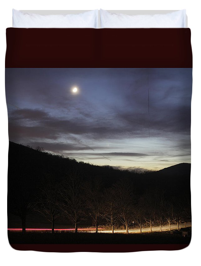 Twilight Duvet Cover featuring the photograph 20111127moon by Tom Bushey