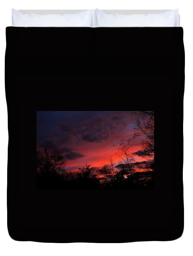 Sunset Duvet Cover featuring the photograph 2012 Sunrise In My Back Yard by Paul SEQUENCE Ferguson       sequence dot net