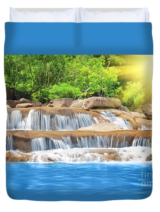 Waterfall Duvet Cover featuring the photograph Waterfall by MotHaiBaPhoto Prints