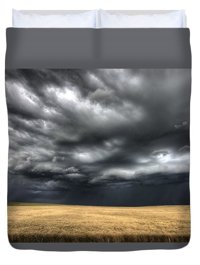 Storm Duvet Cover featuring the photograph Storm Clouds Saskatchewan by Mark Duffy