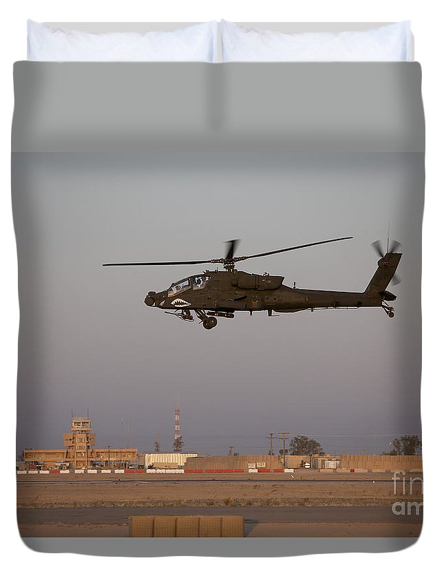 Aircraft Duvet Cover featuring the photograph An Ah-64d Apache Longbow Block IIi by Terry Moore