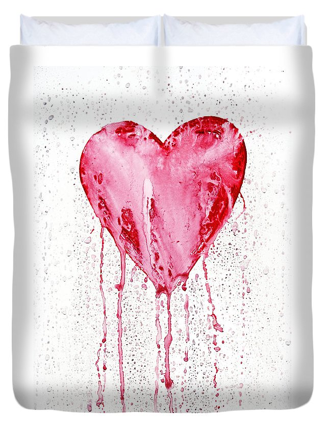 Love Duvet Cover featuring the painting Bleeding Heart by Michal Boubin