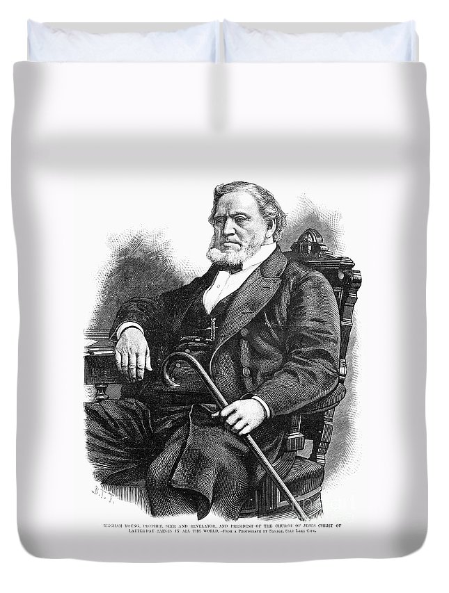 1877 Duvet Cover featuring the photograph Brigham Young (1801-1877) by Granger
