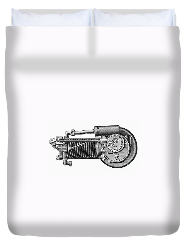 1902 Duvet Cover featuring the photograph Motorcycle, 1902 by Granger