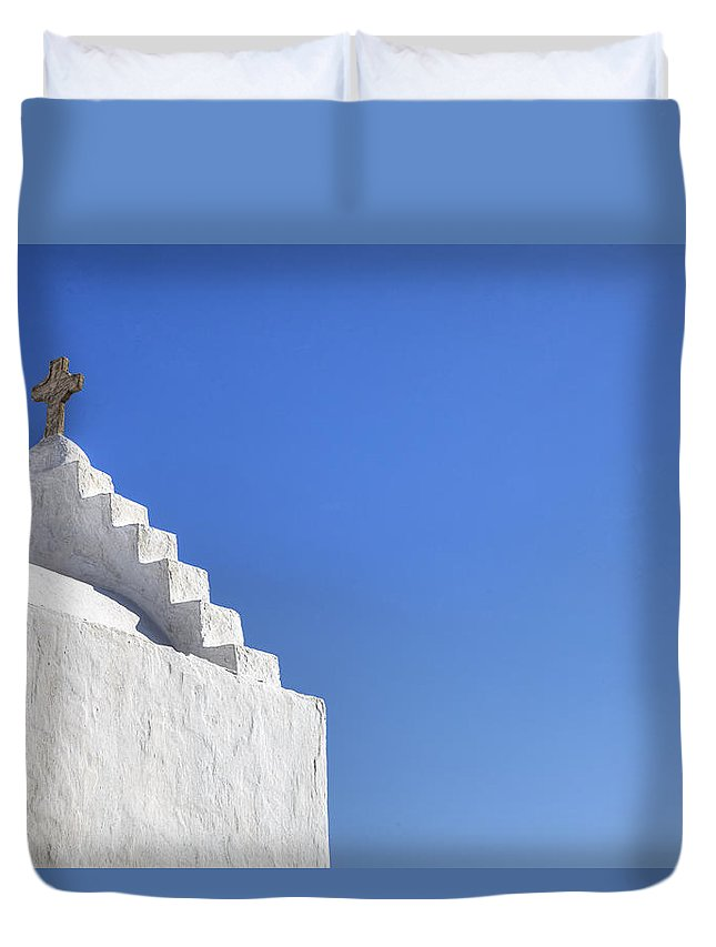Paraportiani Duvet Cover featuring the photograph Mykonos by Joana Kruse