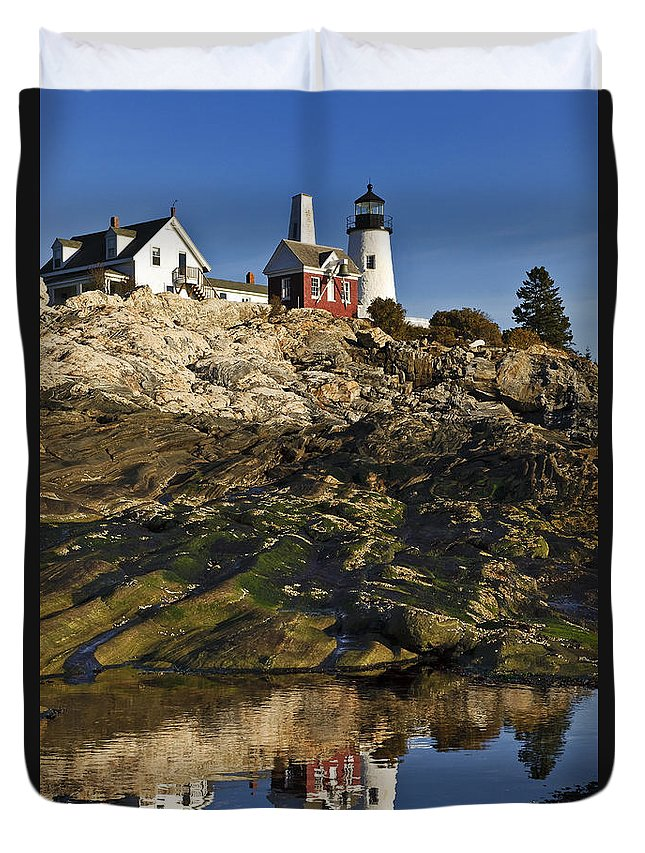 Pemaquid Point Light Station Duvet Cover featuring the photograph Pemaquid Point Lighthouse by John Greim