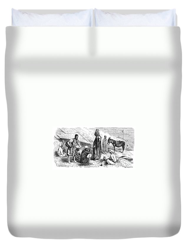 1869 Duvet Cover featuring the photograph Suez Canal Construction by Granger