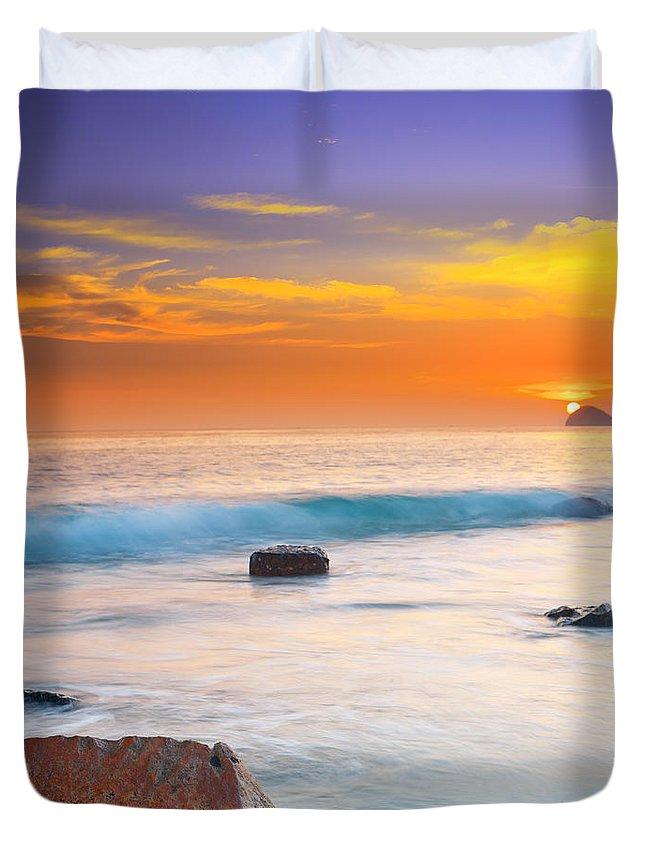 Sunrise Duvet Cover featuring the photograph Sunset by MotHaiBaPhoto Prints