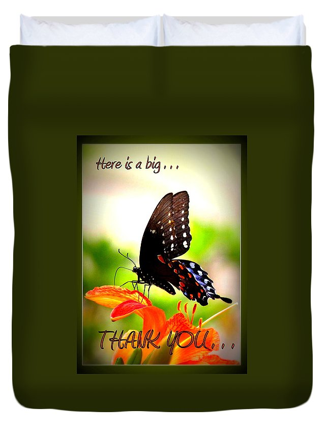 Thank You Duvet Cover featuring the photograph Thank You by Travis Truelove
