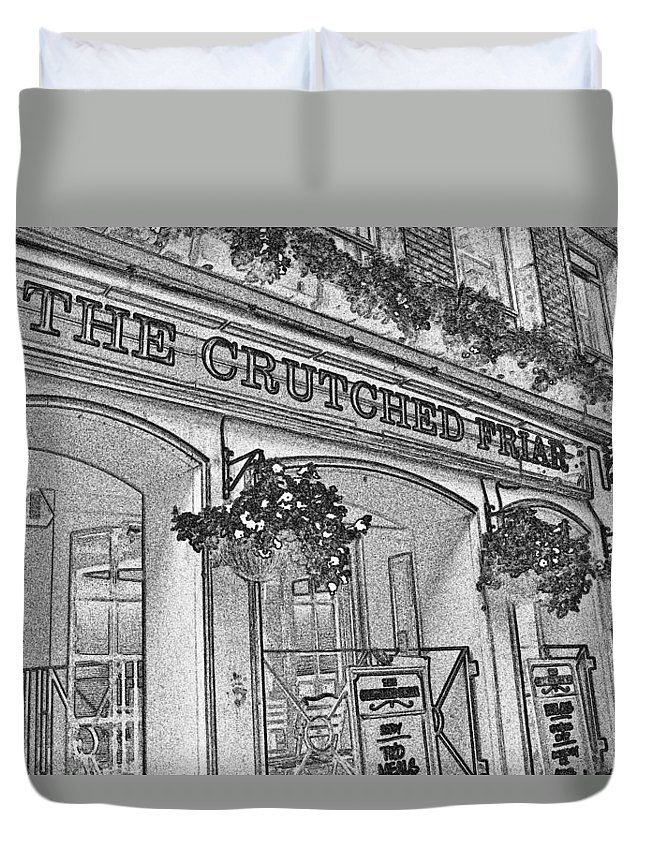 Pub Duvet Cover featuring the digital art The Crutched Friar Public House by David Pyatt