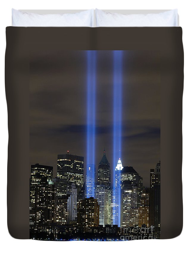 Memorial Duvet Cover featuring the photograph The Tribute In Light Memorial by Stocktrek Images
