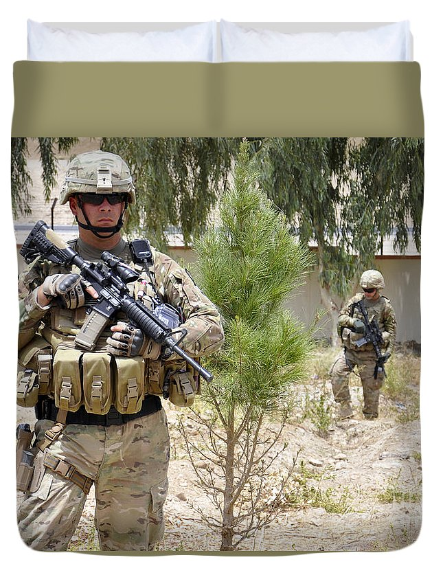 Operation Enduring Freedom Duvet Cover featuring the photograph U.s. Army Soldier Stands Guard by Stocktrek Images