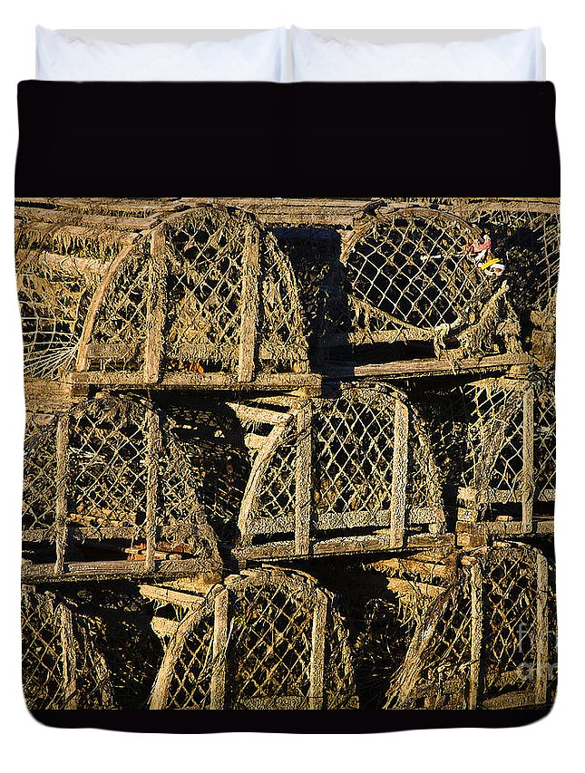 cape Cod Duvet Cover featuring the photograph Wooden Lobster Traps by John Greim