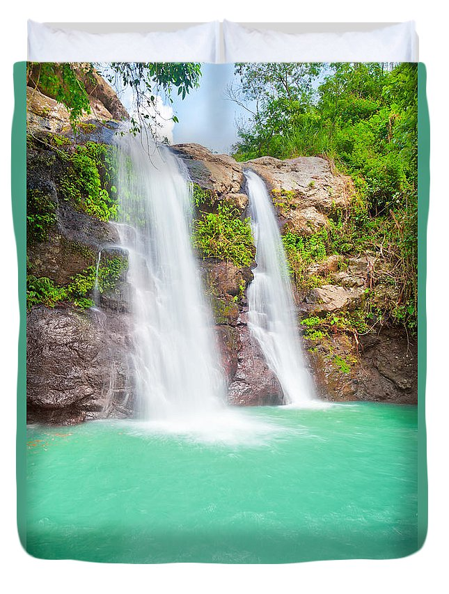 Landscape Duvet Cover featuring the photograph Waterfall by MotHaiBaPhoto Prints