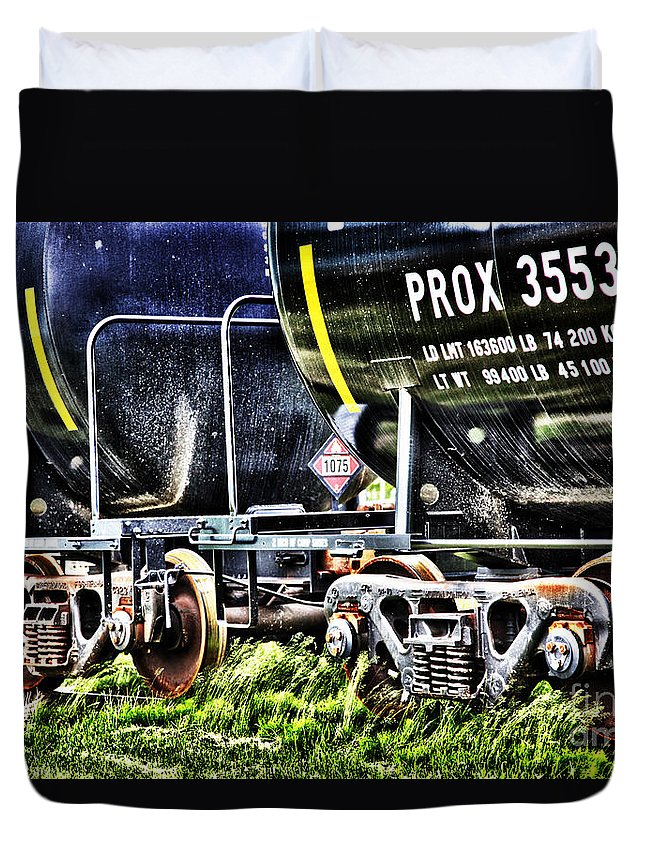 Train Duvet Cover featuring the digital art 35530train by Lori Frostad