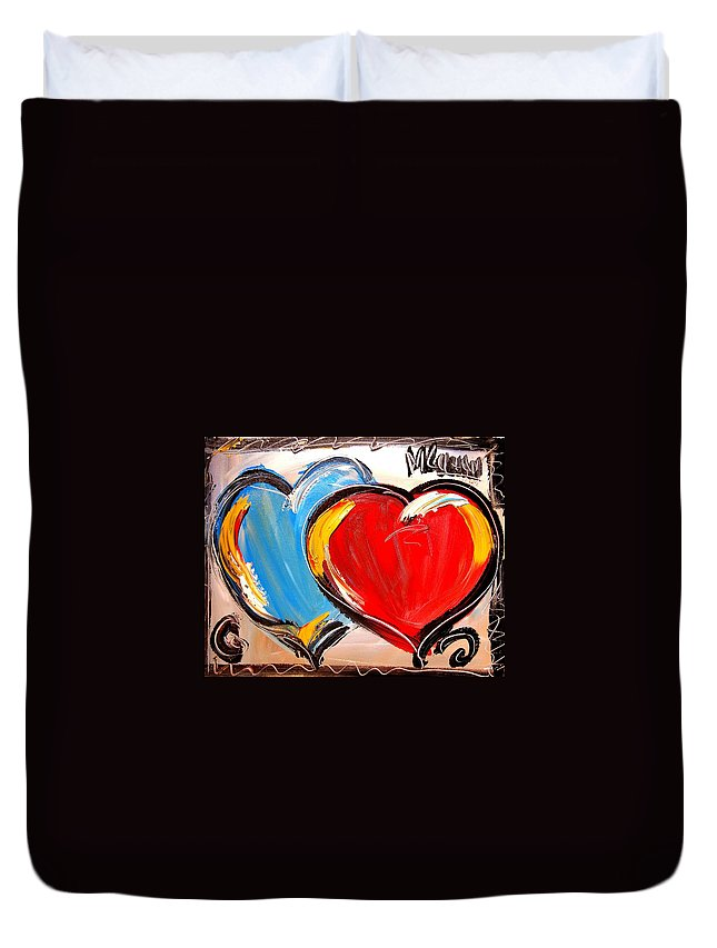 Landscape Framed Prints Paintings Paintings Duvet Cover featuring the painting Hearts by Mark Kazav
