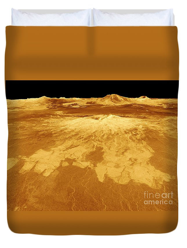 Planets Duvet Cover featuring the photograph 3d Perspective View Of Sapas Mons by Stocktrek Images