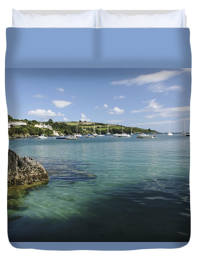Boat Duvet Cover featuring the photograph Bay Beside Glandore Village In West by Trish Punch