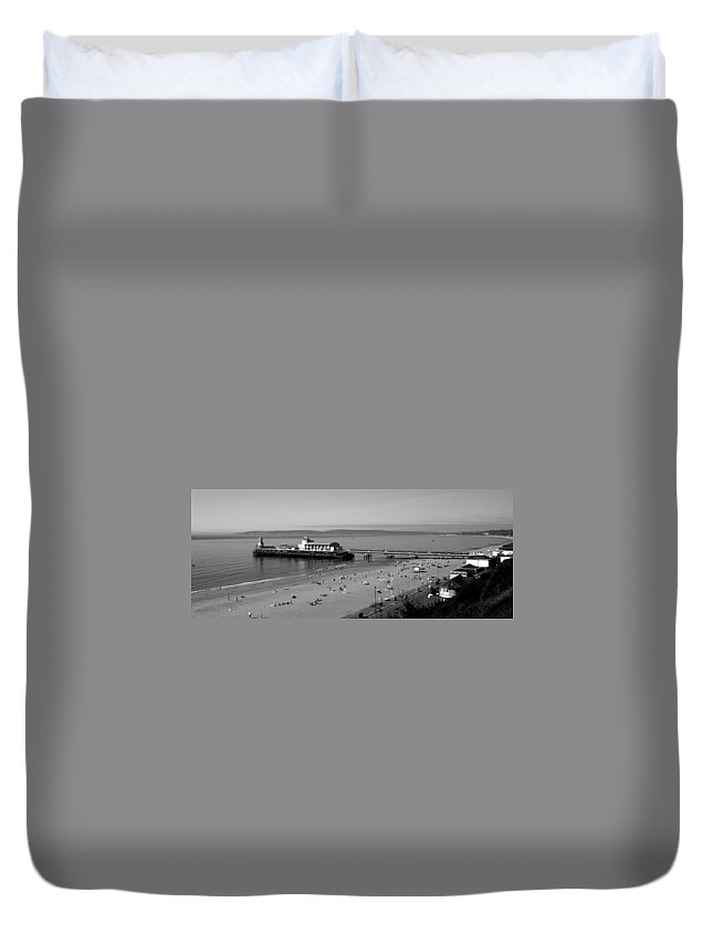 Bournemouth Duvet Cover featuring the photograph Bournemouth Pier And Beach by Chris Day