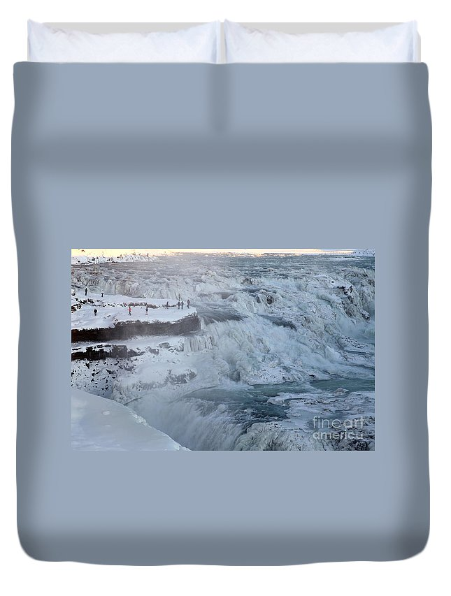 Gullfoss Duvet Cover featuring the photograph Iceland by Milena Boeva
