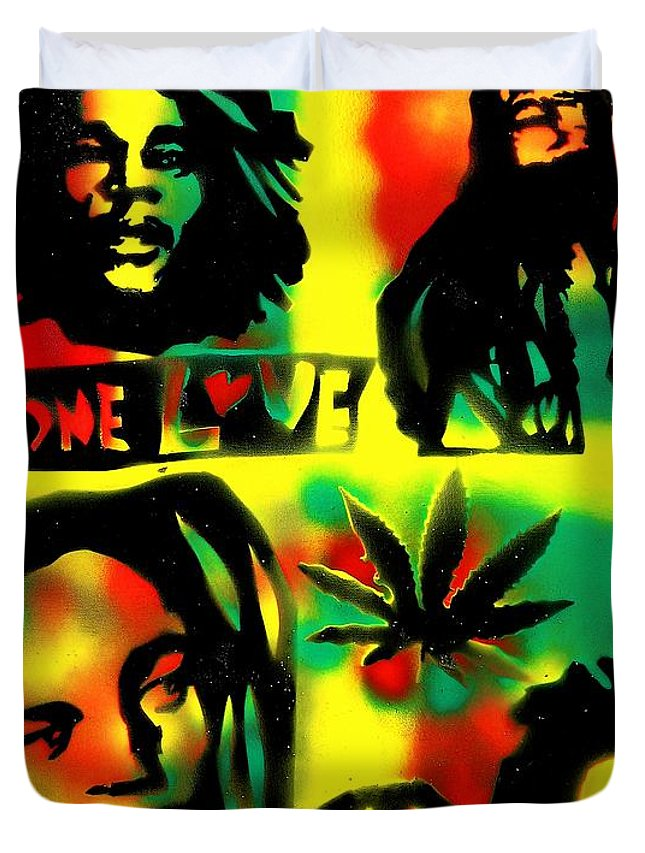 Hip Hop Duvet Cover featuring the painting 4 One Love by Tony B Conscious