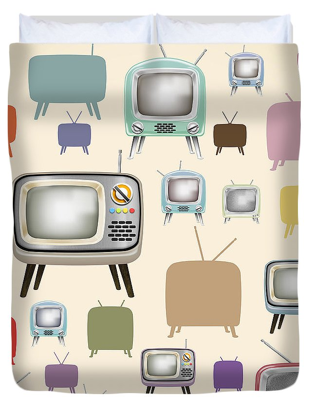 Analog Duvet Cover featuring the painting retro TV pattern by Setsiri Silapasuwanchai