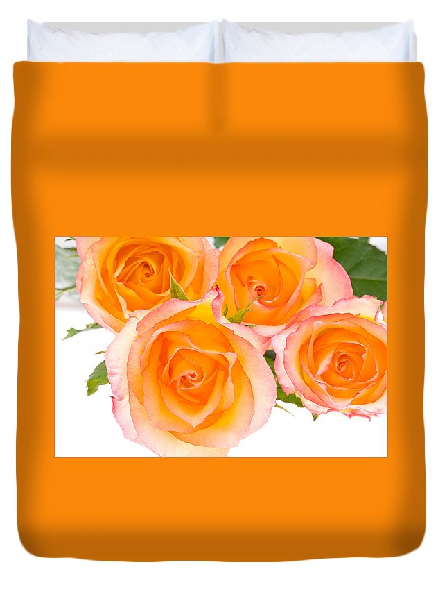 Abstract Duvet Cover featuring the photograph 4 Roses Over White by U Schade