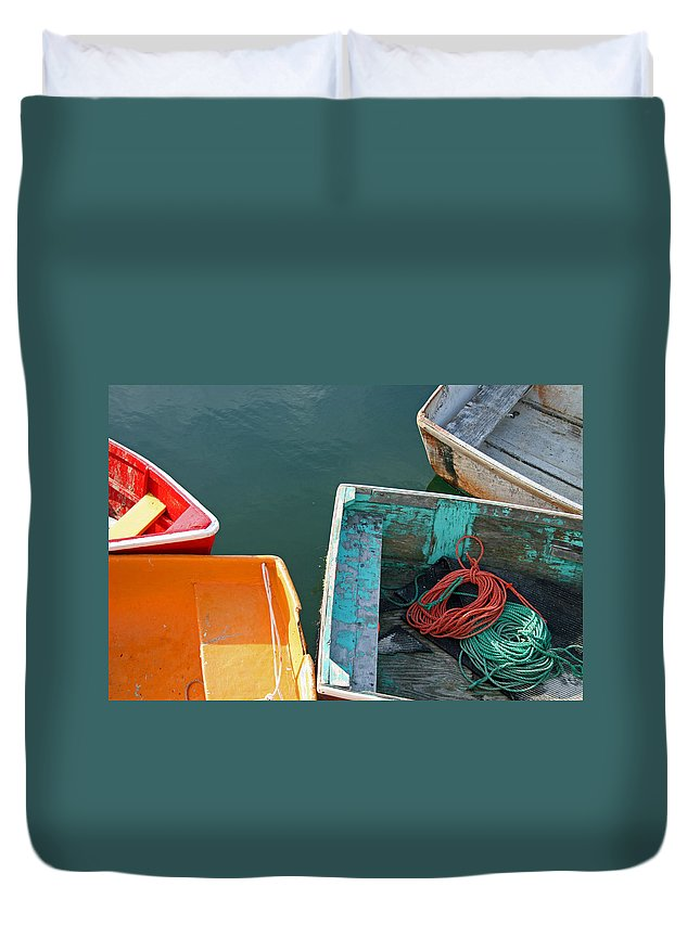 Row Boat Duvet Cover featuring the photograph 4 Row Boats by Frank Morales Jr