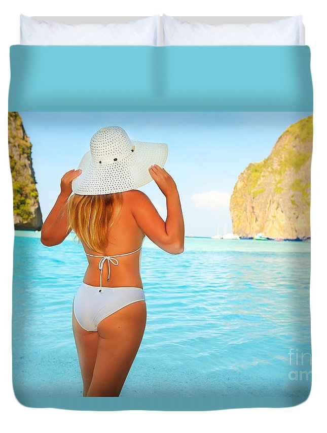 Maya Bay Duvet Cover featuring the photograph Woman On The Beach by MotHaiBaPhoto Prints